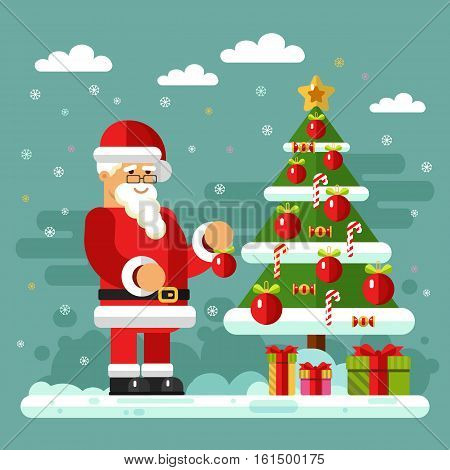 Flat design vector stock illustration of Santa Claus in glasses decorate xmas tree. Candy, christmas ball, gift boxes, snow, snowflakes. New Year, Christmas & Holidays concept for banner