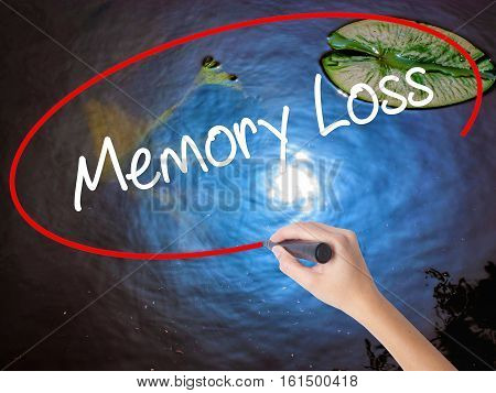 Woman Hand Writing Memory Loss With Marker Over Transparent Board