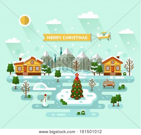 Flat design vector nature winter landscape illustration with village, Christmas tree on ice pond, house, bench, trees, mountain. Airplane with banner. Merry Christmas concept.