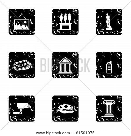 Historical museum icons set. Grunge illustration of 9 historical museum vector icons for web