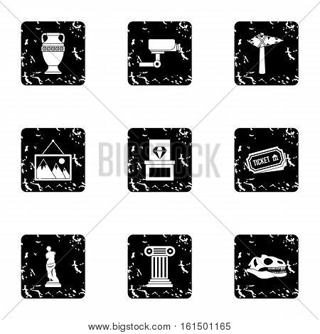 Stay in museum icons set. Grunge illustration of 9 stay in museum vector icons for web