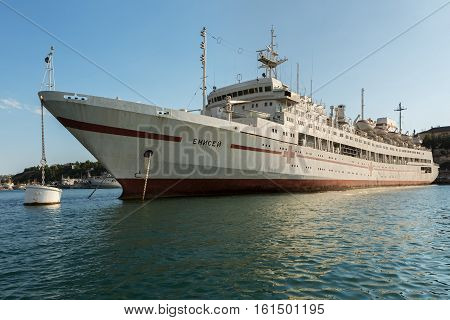 Sevastopol, Russia - June 09, 2016: Large hospital ship Yenisei in the Bay Black Sea.