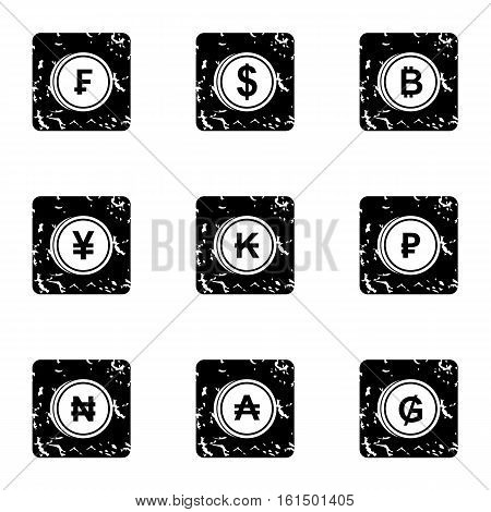 Currency icons set. Grunge illustration of 9 currency vector icons for web