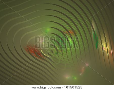 3D Rendering With Green Abstract Fractal In The Form Of Divergent Circular Waves