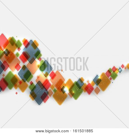 Abstract background from rhombs with shiny lights and place for your text - vector illustration