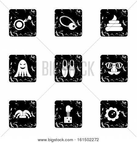 Funny joke icons set. Grunge illustration of 9 funny joke vector icons for web