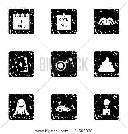 Joke icons set. Grunge illustration of 9 joke vector icons for web