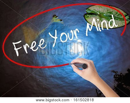 Woman Hand Writing Free Your Mind With Marker Over Transparent Board