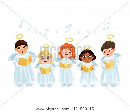 Little kids in angel costumes going Christmas caroling flat vector illustration