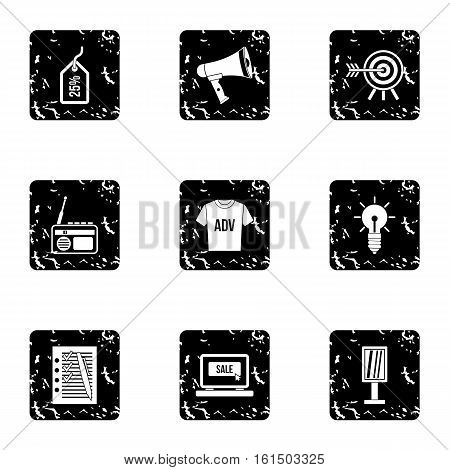 Advertising icons set. Grunge illustration of 9 advertising vector icons for web