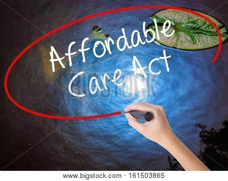 Woman Hand Writing Affordable Care Act With Marker Over Transparent Board