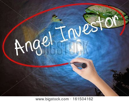 Woman Hand Writing Angel Investor With Marker Over Transparent Board.