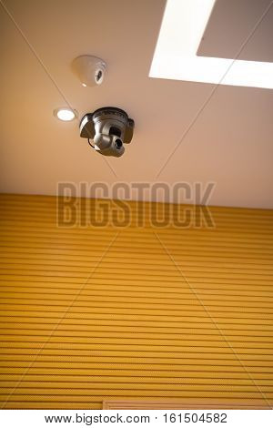 two CCTV camera inside a conference room