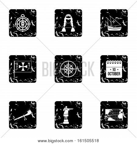 Columbus Day icons set. Grunge illustration of 9 columbus Day vector icons for web