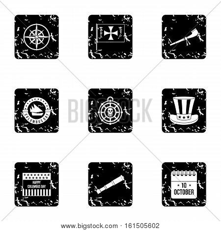 Search of mainland icons set. Grunge illustration of 9 search of mainland vector icons for web