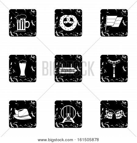 Beer icons set. Grunge illustration of 9 beer vector icons for web