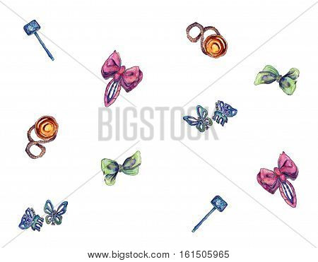 Hairpins bright seamless pattern with various pins