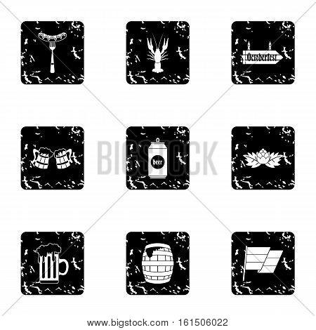 Alcoholic beverage icons set. Grunge illustration of 9 alcoholic beverage vector icons for web