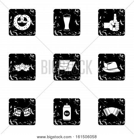 Holiday of beer icons set. Grunge illustration of 9 holiday of beer vector icons for web