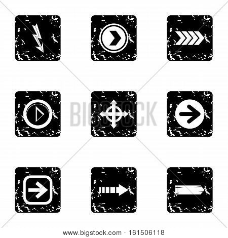 Kind of arrow icons set. Grunge illustration of 9 kind of arrow vector icons for web