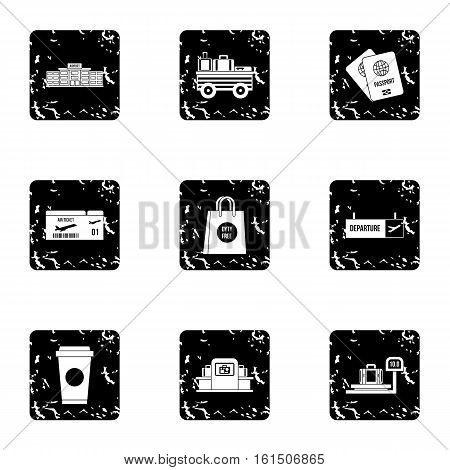 Check at airport icons set. Grunge illustration of 9 check at airport vector icons for web