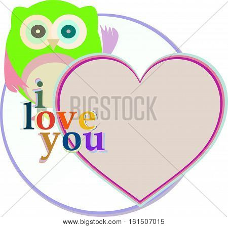 Cute funny owl with love heart, holiday card