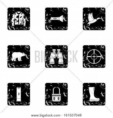 Shooting at animals icons set. Grunge illustration of 9 shooting at animals vector icons for web