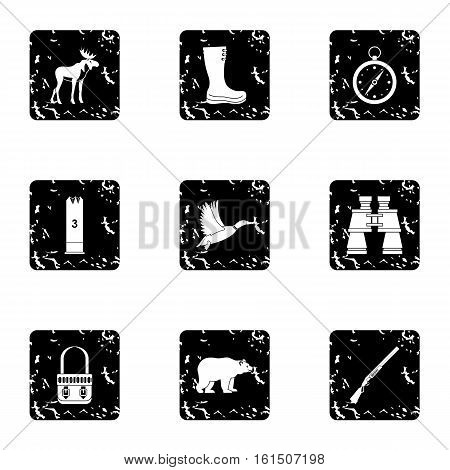 Hunting in forest icons set. Grunge illustration of 9 hunting in forest vector icons for web