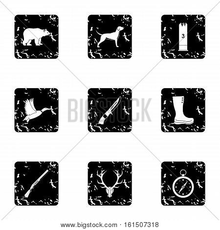 Bird hunting icons set. Grunge illustration of 9 bird hunting vector icons for web