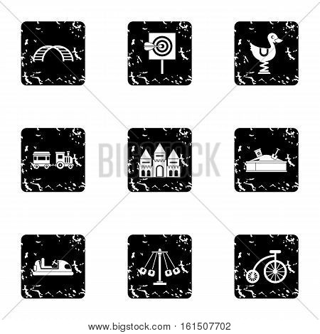 Swing icons set. Grunge illustration of 9 swing vector icons for web