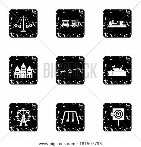 Kids games icons set. Grunge illustration of 9 kids games vector icons for web