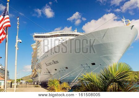 NASSAU, BAHSMAS - APRIL 12, 2015: Royal Caribbean cruise ship Allure of the Seas  docked at port of Nassau, Bahamas on April 15, 2015. It's the largest passenger ship ever built