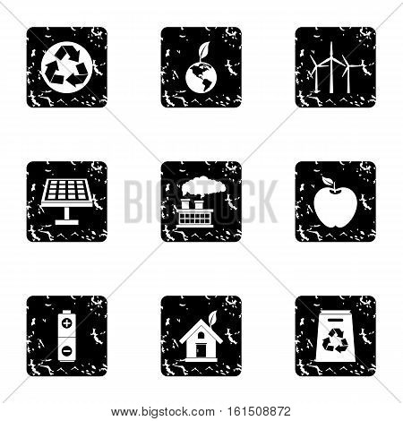 Natural environment icons set. Grunge illustration of 9 natural environment vector icons for web