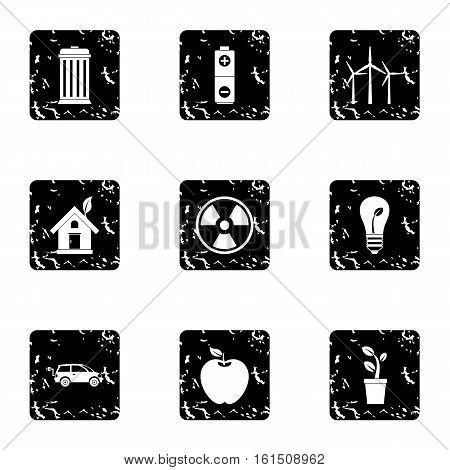 Ecology icons set. Grunge illustration of 9 ecology vector icons for web