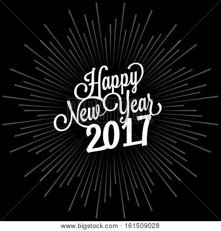 Happy new year 2017 calligraphy lettering hand on starburst background, flat design