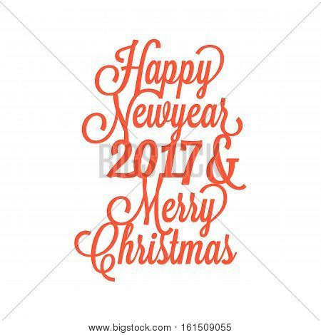 Happy new year 2017 and merry Christmas calligraphic design suitable for paper cutting