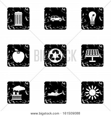 Purity of nature icons set. Grunge illustration of 9 purity of nature vector icons for web