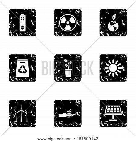 Conservation icons set. Grunge illustration of 9 conservation vector icons for web