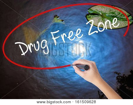 Woman Hand Writing Drug Free Zonewith Marker Over Transparent Board