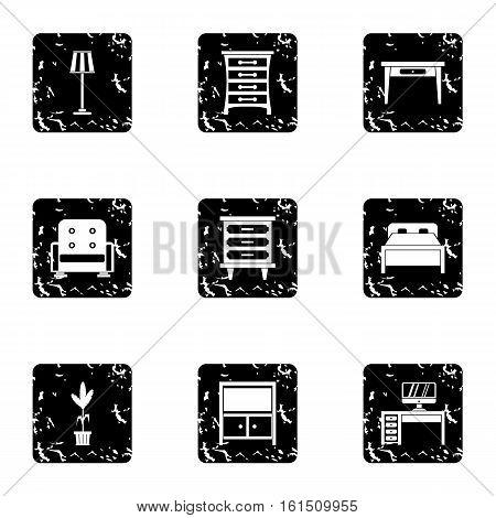 Home furnishings icons set. Grunge illustration of 9 home furnishings vector icons for web
