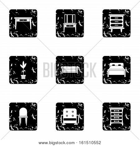 Furniture icons set. Grunge illustration of 9 furniture vector icons for web