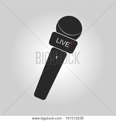 News microphone icon with simple button and lettering. Vector illustration