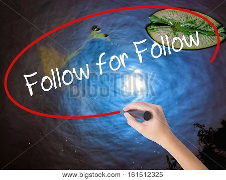 Woman Hand Writing Follow For Follow With Marker Over Transparent Board