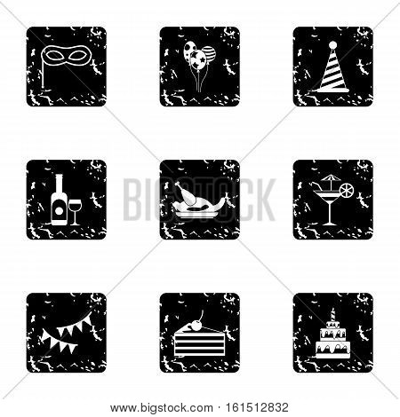 Holiday icons set. Grunge illustration of 9 holiday vector icons for web