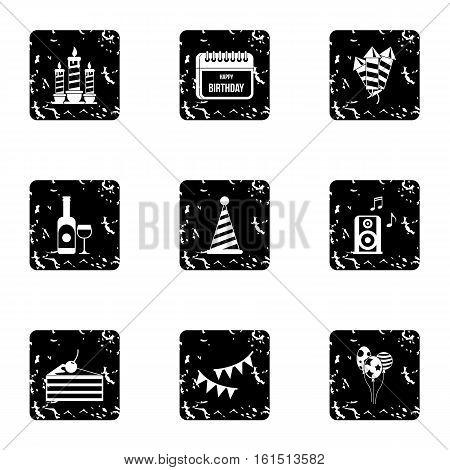 Children party icons set. Grunge illustration of 9 children party vector icons for web