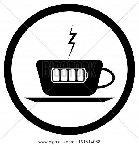 Cup of coffee and battery lightning. Coffee mug and cup isolated. tea cup vector illustration