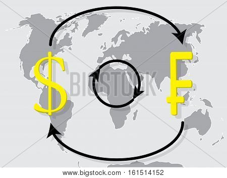 Currency exchange franc dollar on world map background. Exchange rate and money vector illustration