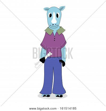Hipster character rhinoceros. Rhino clothing isolated on background. Vector illustration