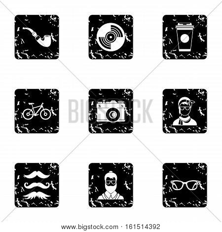 Hipsters icons set. Grunge illustration of 9 hipsters vector icons for web