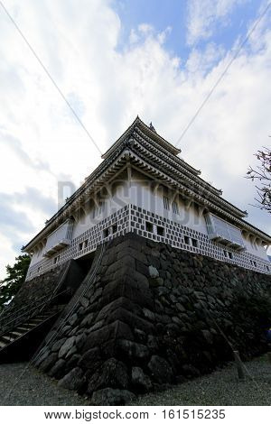 shimabara Castle also known as Moritake Castle and Takaki Castle is a Japanese castle located in Shimabara Hizen Province. This five-story white building stands in stark contrast to the black Kumamoto Castle in neighboring Kumamoto Prefecture.JAPAN